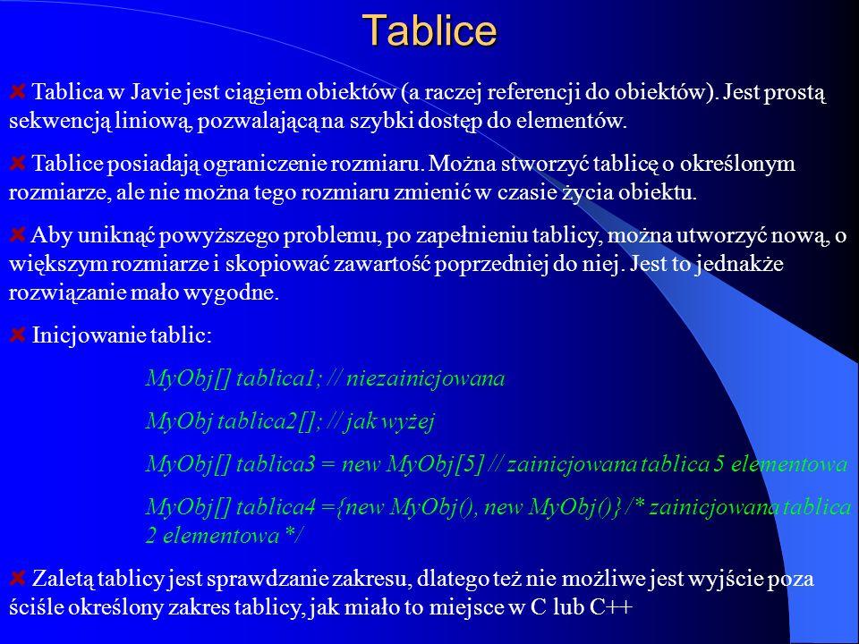 Tablice Tablica w Javie jest ciągiem obiektów (a raczej referencji do obiektów). Jest prostą sekwencją liniową, pozwalającą na szybki dostęp do elemen