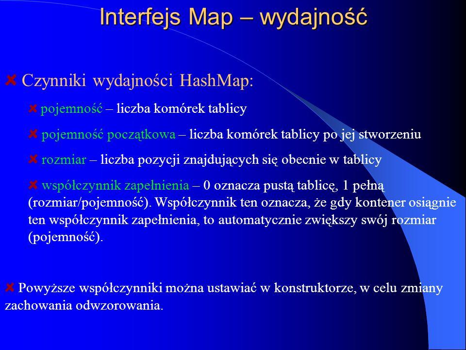 Interfejs Map – wydajność Czynniki wydajności HashMap: pojemność – liczba komórek tablicy pojemność początkowa – liczba komórek tablicy po jej stworze