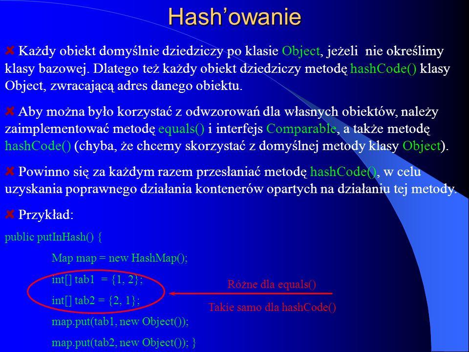Hashowanie Każdy obiekt domyślnie dziedziczy po klasie Object, jeżeli nie określimy klasy bazowej. Dlatego też każdy obiekt dziedziczy metodę hashCode