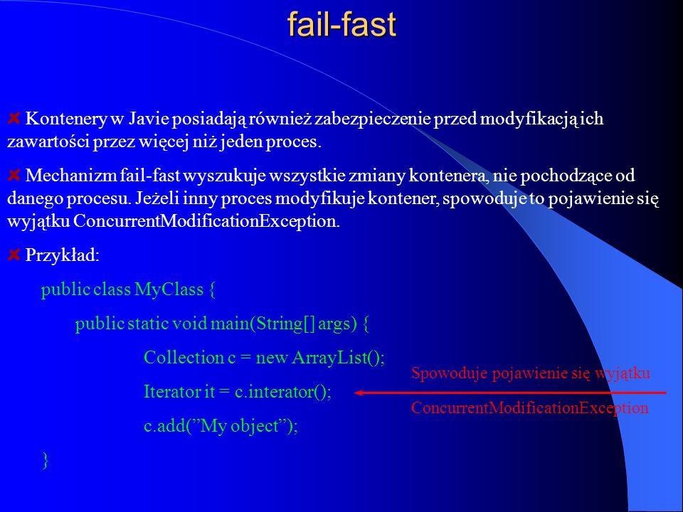 fail-fast Kontenery w Javie posiadają również zabezpieczenie przed modyfikacją ich zawartości przez więcej niż jeden proces. Mechanizm fail-fast wyszu
