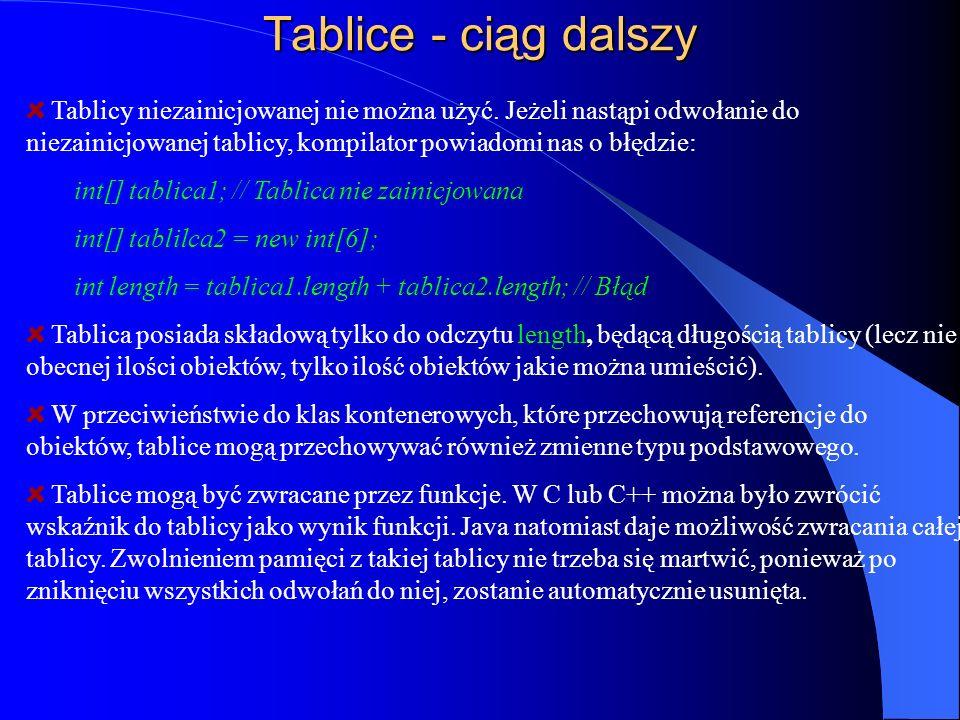 Tablice - ciąg dalszy Tablicy niezainicjowanej nie można użyć. Jeżeli nastąpi odwołanie do niezainicjowanej tablicy, kompilator powiadomi nas o błędzi