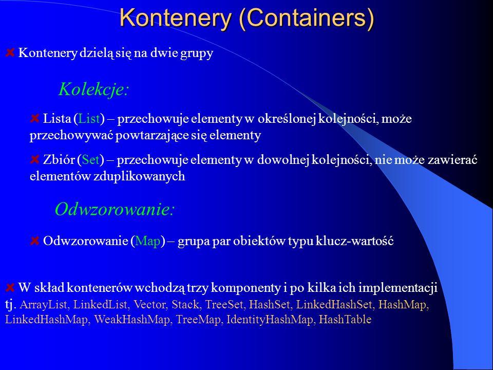 Kontenery (Containers) Kontenery dzielą się na dwie grupy Kolekcje: W skład kontenerów wchodzą trzy komponenty i po kilka ich implementacji tj. ArrayL