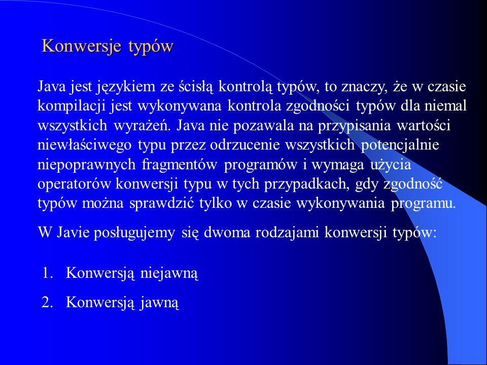 Java jest językiem ze ścisłą kontrolą typów, to znaczy, że w czasie kompilacji jest wykonywana kontrola zgodności typów dla niemal wszystkich wyrażeń.