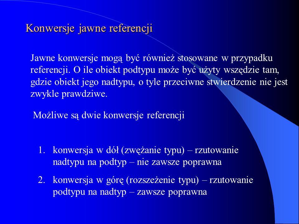 Konwersje jawne referencji Jawne konwersje mogą być również stosowane w przypadku referencji. O ile obiekt podtypu może być użyty wszędzie tam, gdzie