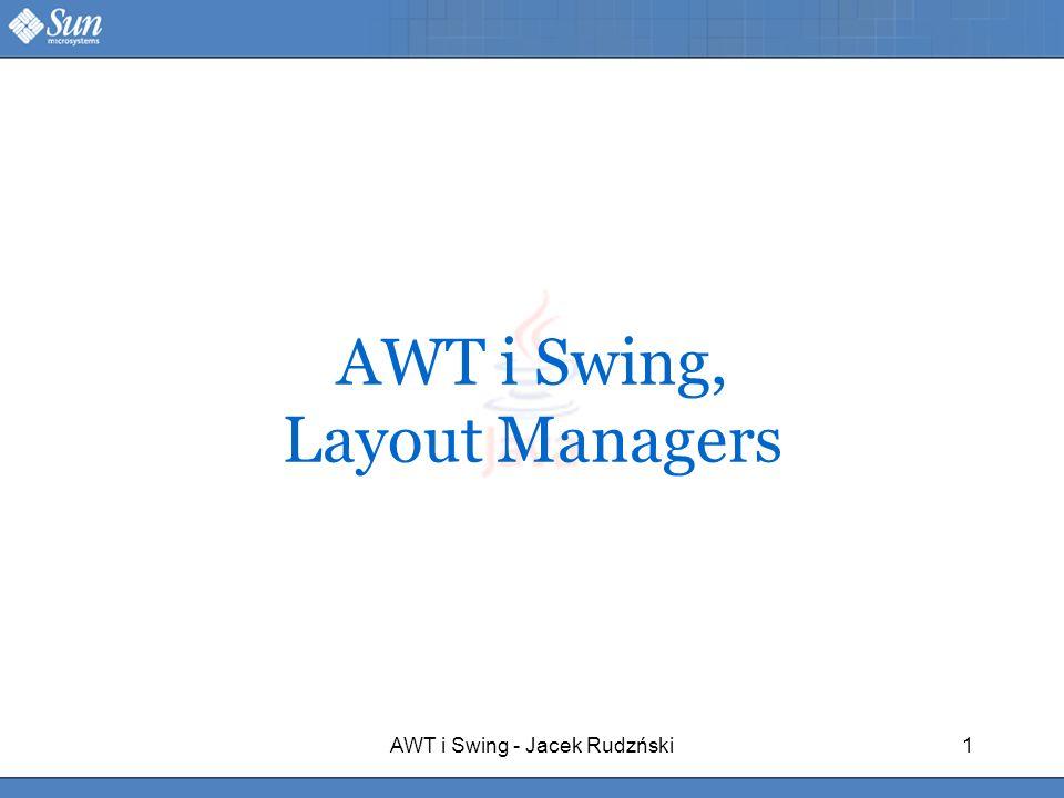AWT i Swing - Jacek Rudzński1 AWT i Swing, Layout Managers