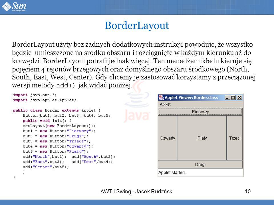 AWT i Swing - Jacek Rudzński10 BorderLayout BorderLayout użyty bez żadnych dodatkowych instrukcji powoduje, że wszystko będzie umieszczone na środku o