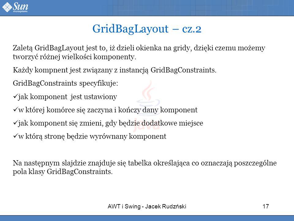 AWT i Swing - Jacek Rudzński17 GridBagLayout – cz.2 Zaletą GridBagLayout jest to, iż dzieli okienka na gridy, dzięki czemu możemy tworzyć różnej wielk