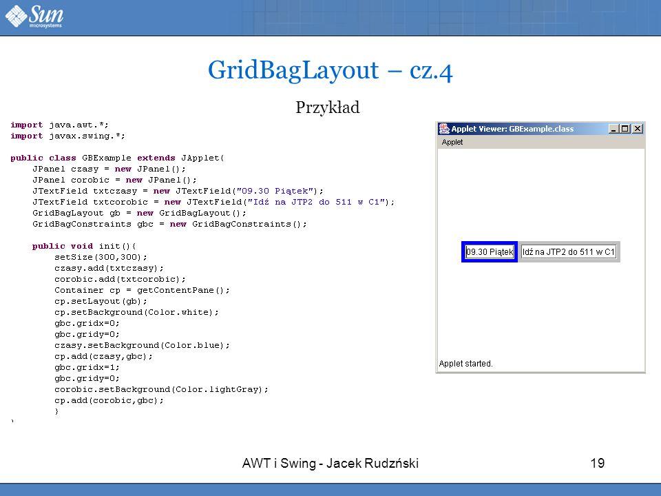 AWT i Swing - Jacek Rudzński19 GridBagLayout – cz.4 Przykład