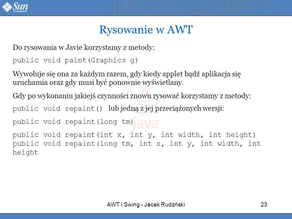 AWT i Swing - Jacek Rudzński23 Rysowanie w AWT Do rysowania w Javie korzystamy z metody: public void paint(Graphics g) Wywołuje się ona za każdym raze
