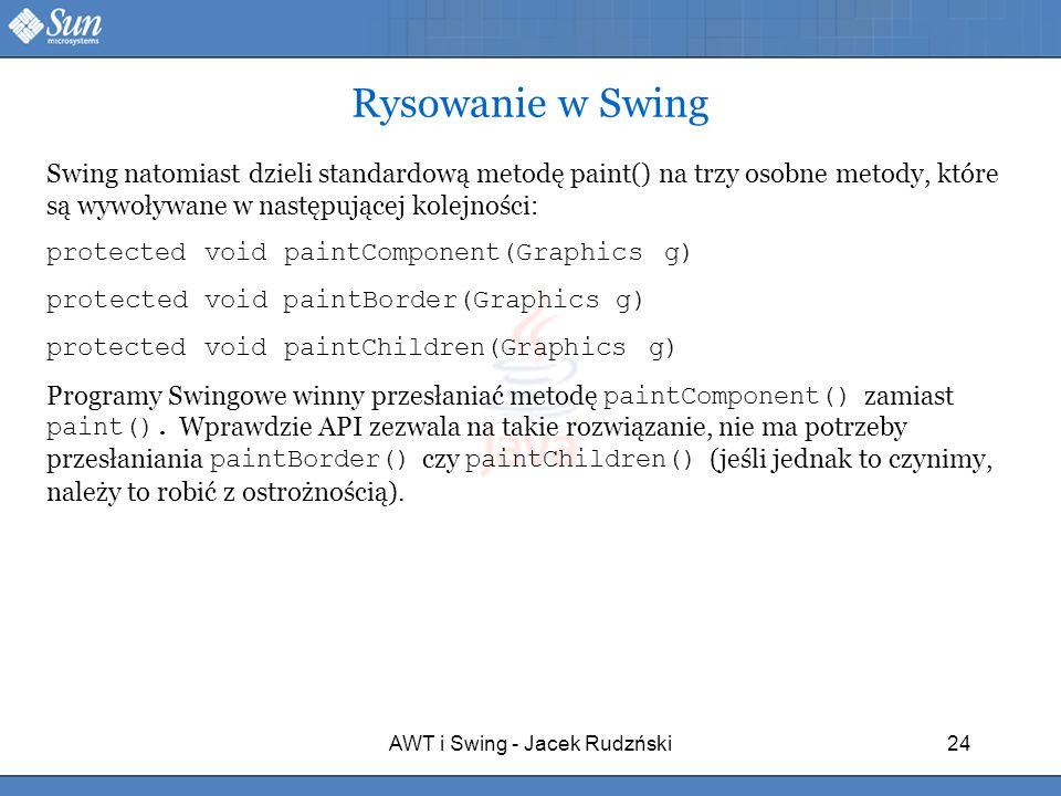 AWT i Swing - Jacek Rudzński24 Rysowanie w Swing Swing natomiast dzieli standardową metodę paint() na trzy osobne metody, które są wywoływane w następ
