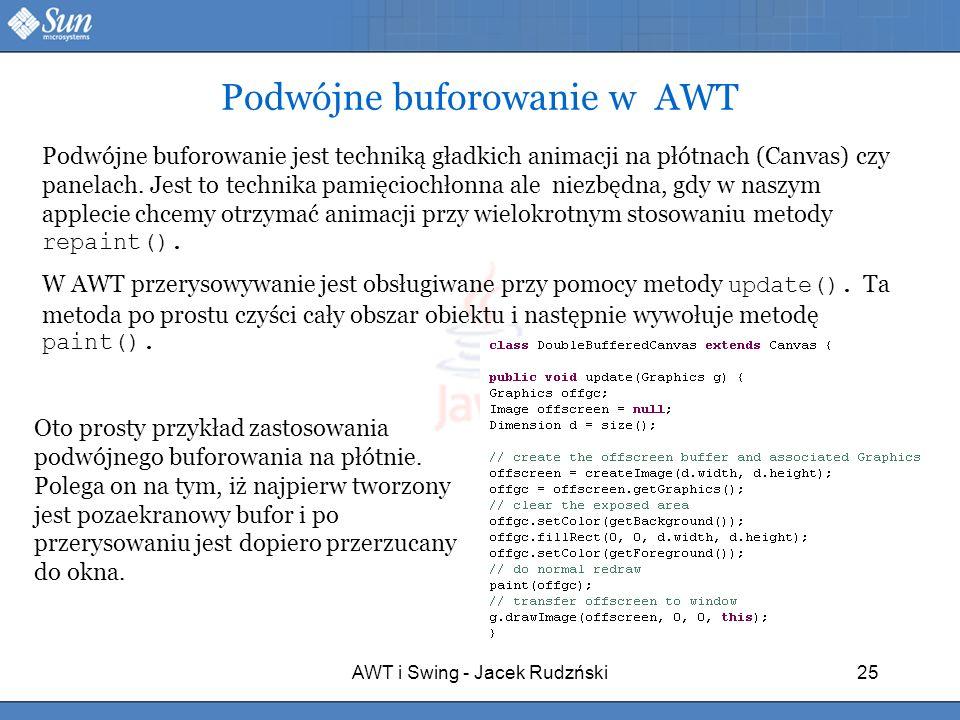 AWT i Swing - Jacek Rudzński25 Podwójne buforowanie w AWT Podwójne buforowanie jest techniką gładkich animacji na płótnach (Canvas) czy panelach. Jest