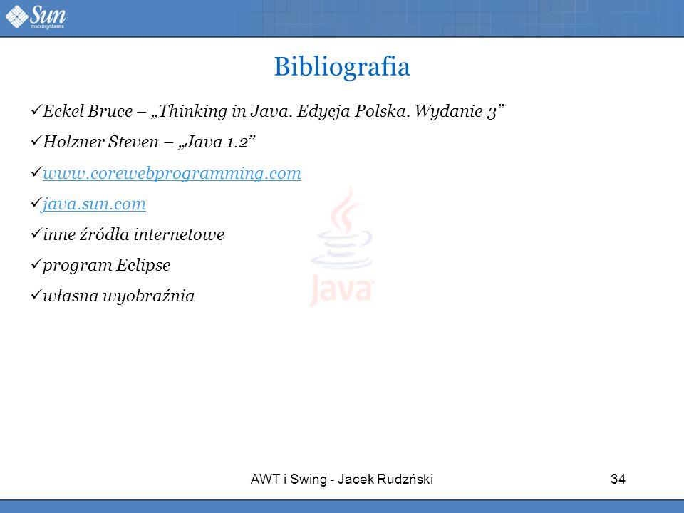 AWT i Swing - Jacek Rudzński34 Eckel Bruce – Thinking in Java. Edycja Polska. Wydanie 3 Holzner Steven – Java 1.2 www.corewebprogramming.com java.sun.