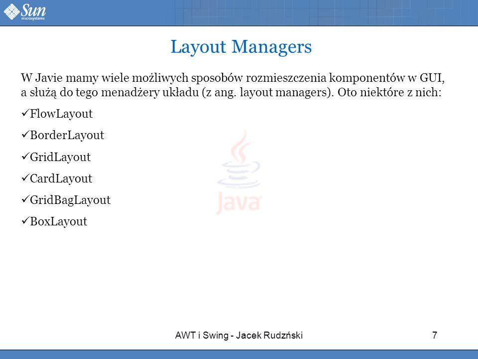 AWT i Swing - Jacek Rudzński7 W Javie mamy wiele możliwych sposobów rozmieszczenia komponentów w GUI, a służą do tego menadżery układu (z ang. layout