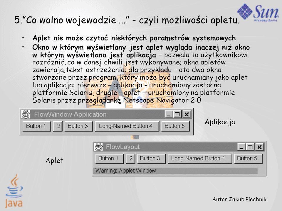 Autor Jakub Piechnik 5.Co wolno wojewodzie... - czyli możliwości apletu. Aplet nie może czytać niektórych parametrów systemowych Okno w którym wyświet
