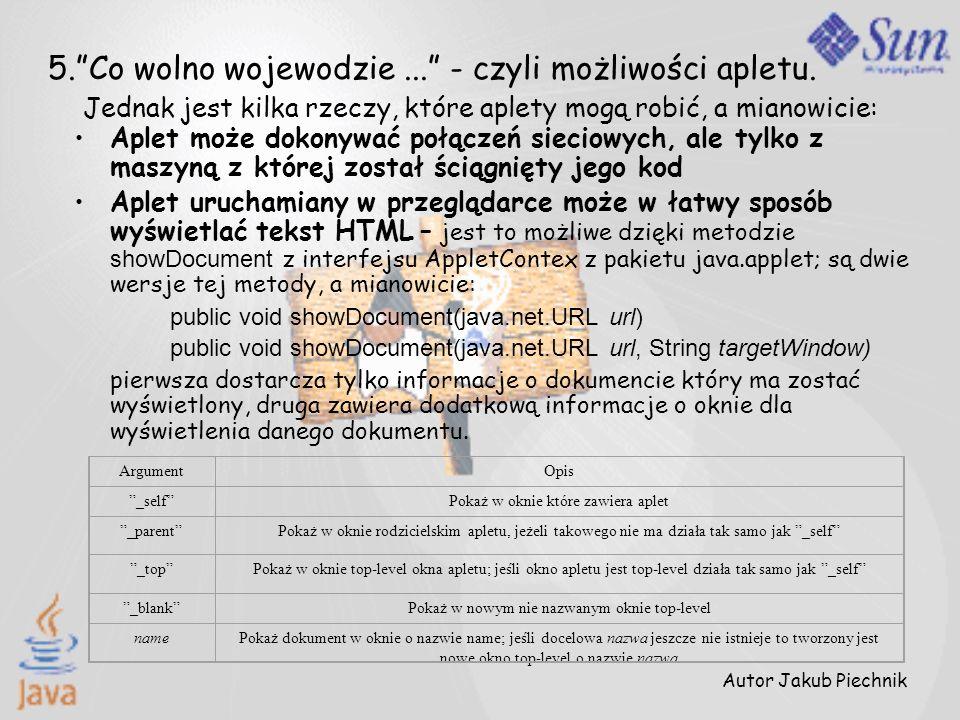 Autor Jakub Piechnik 5.Co wolno wojewodzie... - czyli możliwości apletu. Jednak jest kilka rzeczy, które aplety mogą robić, a mianowicie: Aplet może d