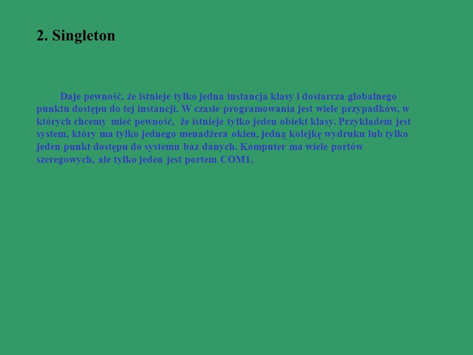 2. Singleton Daje pewność, że istnieje tylko jedna instancja klasy i dostarcza globalnego punktu dostępu do tej instancji. W czasie programowania jest