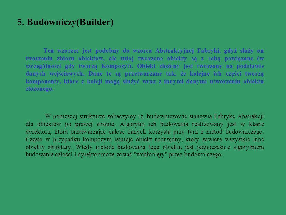 5. Budowniczy(Builder) Ten wzorzec jest podobny do wzorca Abstrakcyjnej Fabryki, gdyż służy on tworzeniu zbioru obiektów, ale tutaj tworzone obiekty s