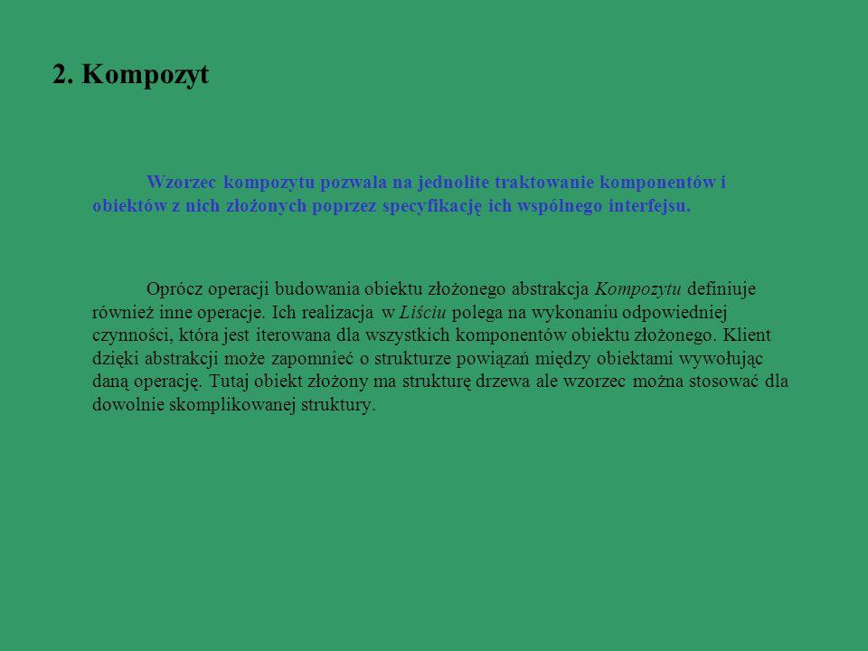 2. Kompozyt Wzorzec kompozytu pozwala na jednolite traktowanie komponentów i obiektów z nich złożonych poprzez specyfikację ich wspólnego interfejsu.