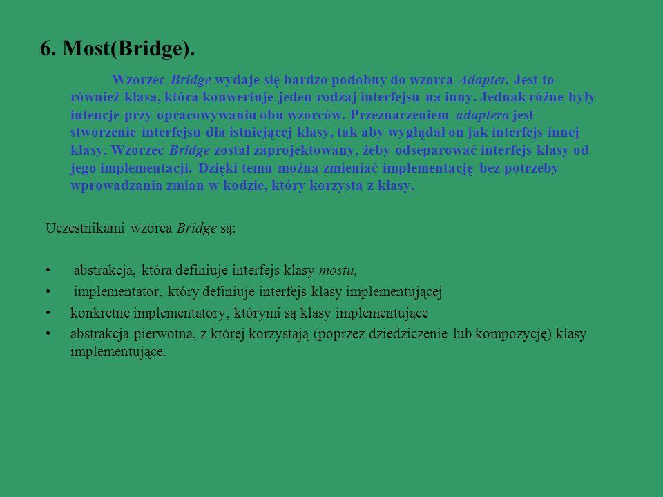 6. Most(Bridge). Wzorzec Bridge wydaje się bardzo podobny do wzorca Adapter. Jest to również klasa, która konwertuje jeden rodzaj interfejsu na inny.