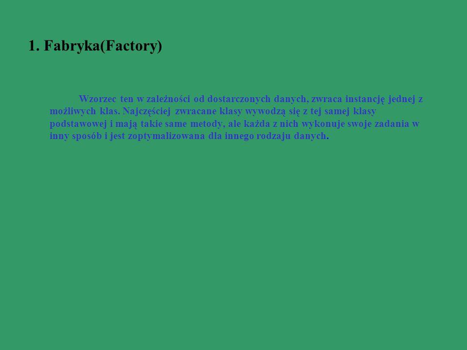 1. Fabryka(Factory) Wzorzec ten w zależności od dostarczonych danych, zwraca instancję jednej z możliwych klas. Najczęściej zwracane klasy wywodzą się