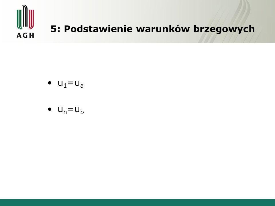 5: Podstawienie warunków brzegowych u 1 =u a u n =u b