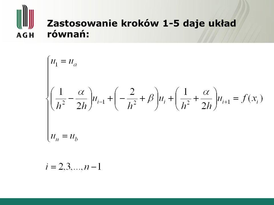 Zastosowanie kroków 1-5 daje układ równań: