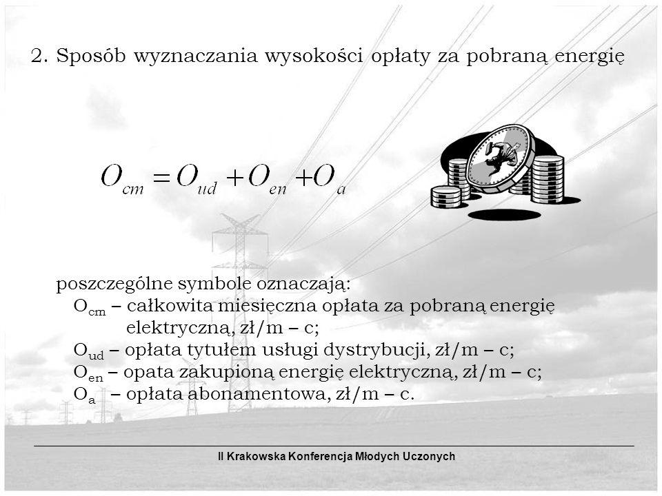 poszczególne symbole oznaczają: O ud – opłata miesięczna za usługę dystrybucyjną, zł/m – c; S SVn – składnik stały stawki opłaty sieciowej, zł/kW lub zł/MW; P – moc umowna, kW lub MW; S ZoPK – składnik zmienny stawki opłaty dystrybucyjnej dla strefy czasowej k, zł/kWh lub zł/MWh; E k – ilość energii w strefie czasowej k jaka objęta jest usługą dystrybucyjną, kWh lub MWh; n – ilość stref czasowych w danej grupie taryfowej.