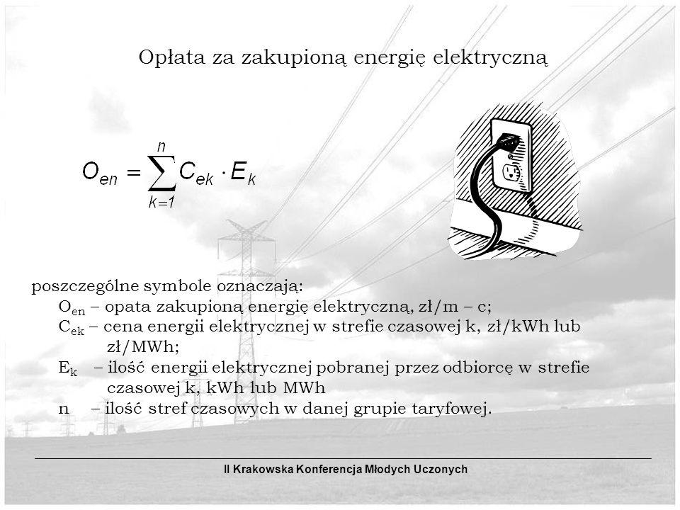 Opłata za zakupioną energię elektryczną poszczególne symbole oznaczają: O en – opata zakupioną energię elektryczną, zł/m – c; C ek – cena energii elektrycznej w strefie czasowej k, zł/kWh lub zł/MWh; E k – ilość energii elektrycznej pobranej przez odbiorcę w strefie czasowej k, kWh lub MWh n – ilość stref czasowych w danej grupie taryfowej.