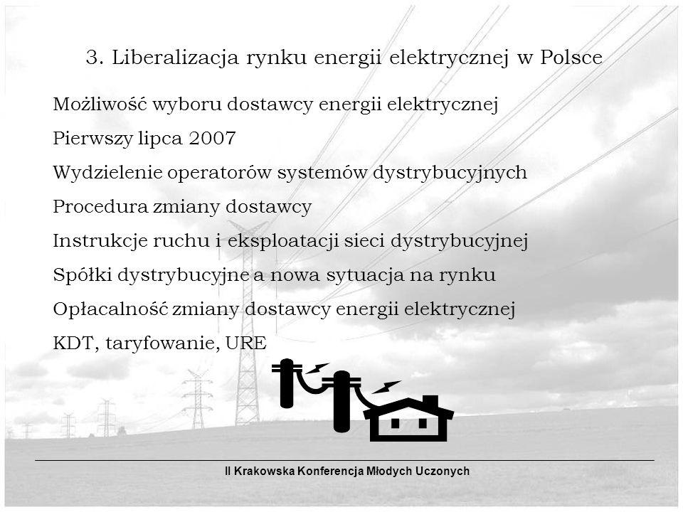 3. Liberalizacja rynku energii elektrycznej w Polsce Możliwość wyboru dostawcy energii elektrycznej Pierwszy lipca 2007 Wydzielenie operatorów systemó