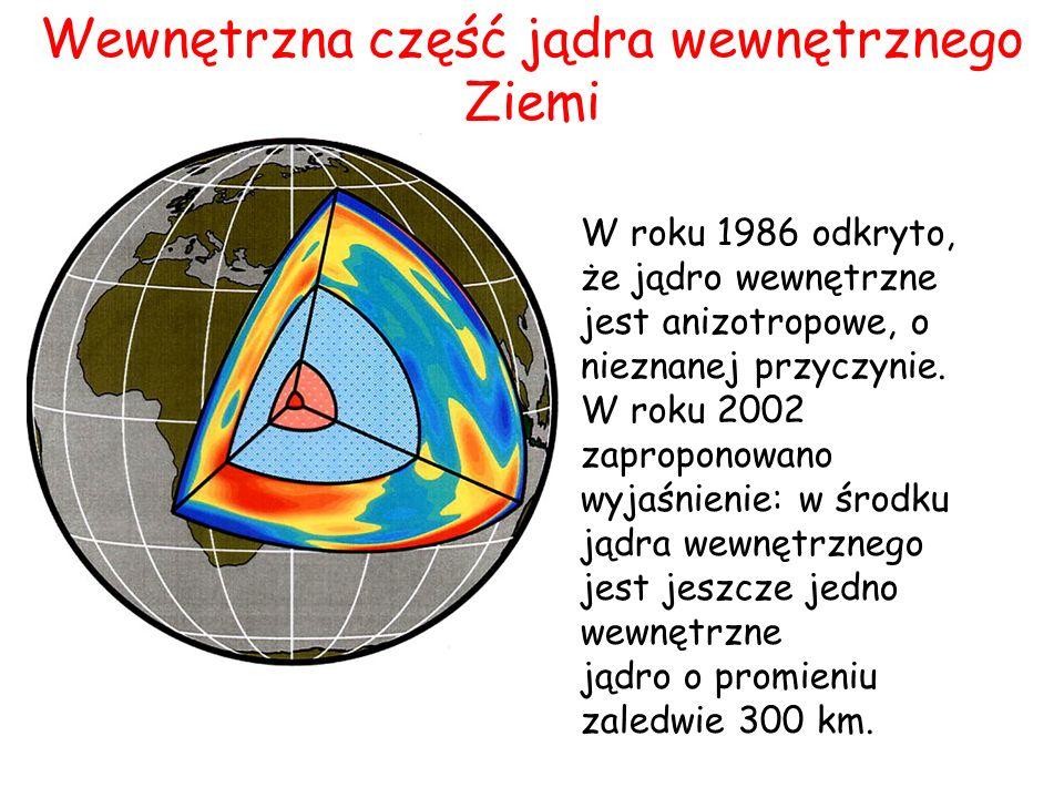 W roku 1986 odkryto, że jądro wewnętrzne jest anizotropowe, o nieznanej przyczynie. W roku 2002 zaproponowano wyjaśnienie: w środku jądra wewnętrznego
