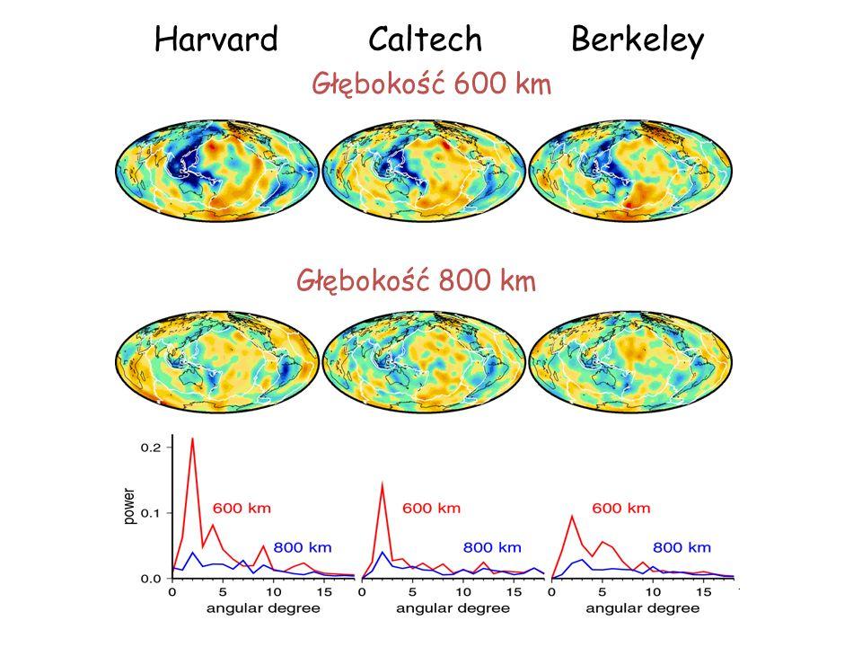 Głębokość 600 km Głębokość 800 km HarvardCaltechBerkeley