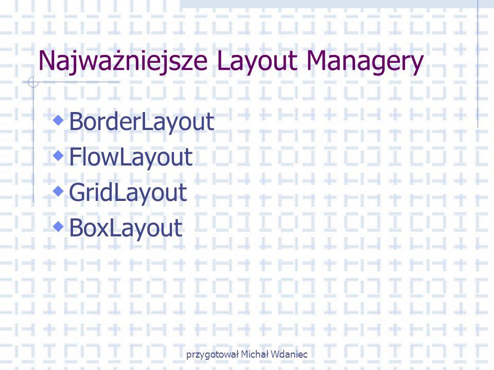 przygotował Michał Wdaniec Najważniejsze Layout Managery BorderLayout FlowLayout GridLayout BoxLayout