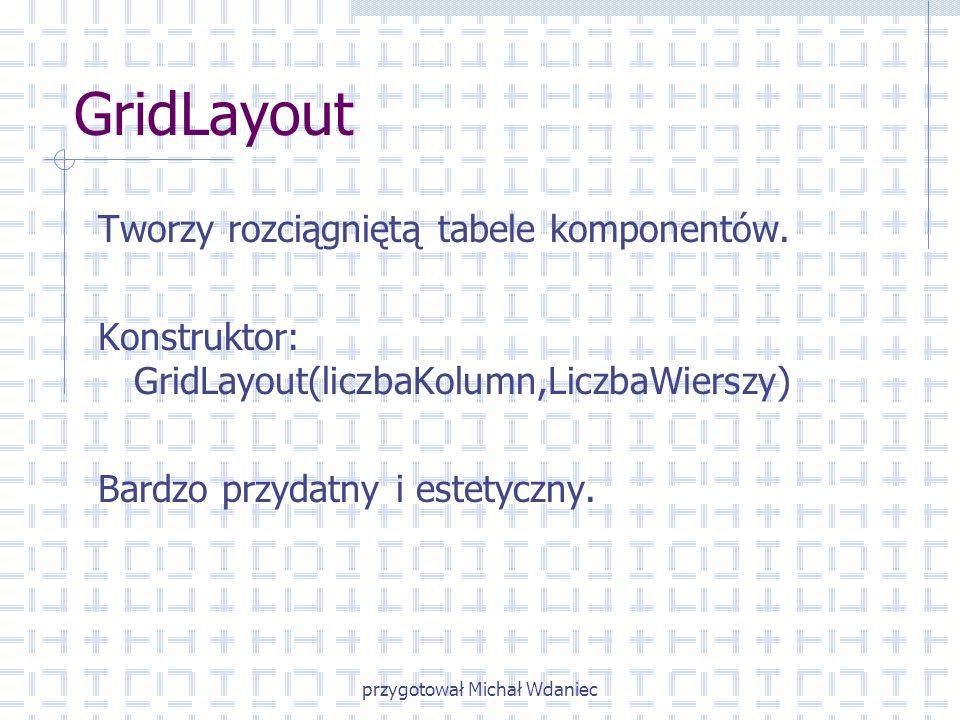 przygotował Michał Wdaniec GridLayout Tworzy rozciągniętą tabele komponentów. Konstruktor: GridLayout(liczbaKolumn,LiczbaWierszy) Bardzo przydatny i e