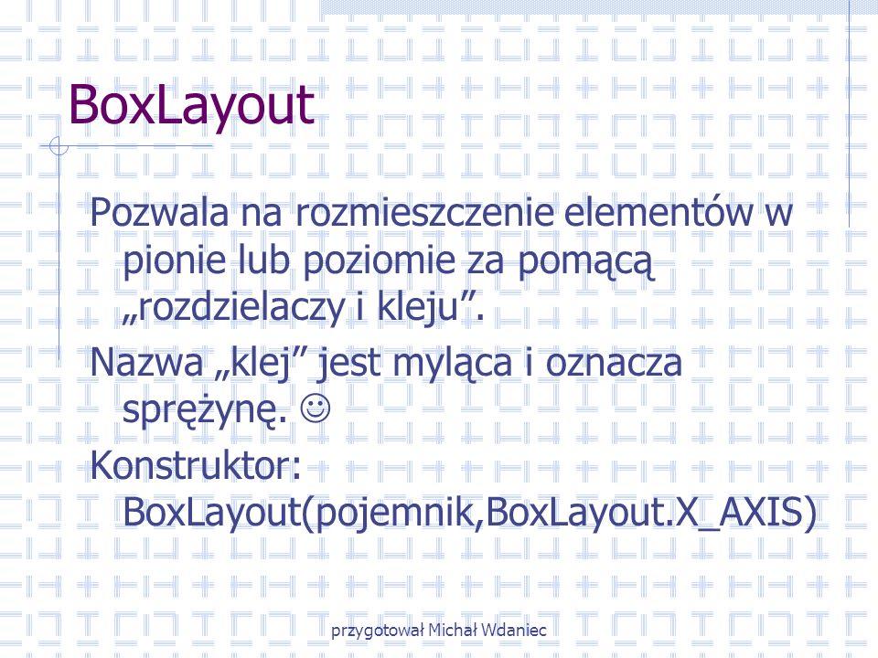 przygotował Michał Wdaniec BoxLayout Pozwala na rozmieszczenie elementów w pionie lub poziomie za pomącą rozdzielaczy i kleju. Nazwa klej jest myląca