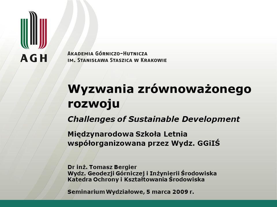 Wyzwania zrównoważonego rozwoju Challenges of Sustainable Development Międzynarodowa Szkoła Letnia współorganizowana przez Wydz.