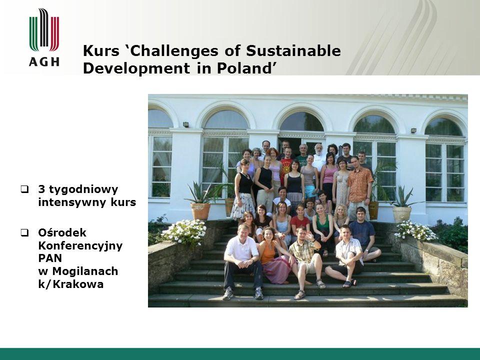Kurs Challenges of Sustainable Development in Poland 3 tygodniowy intensywny kurs Ośrodek Konferencyjny PAN w Mogilanach k/Krakowa