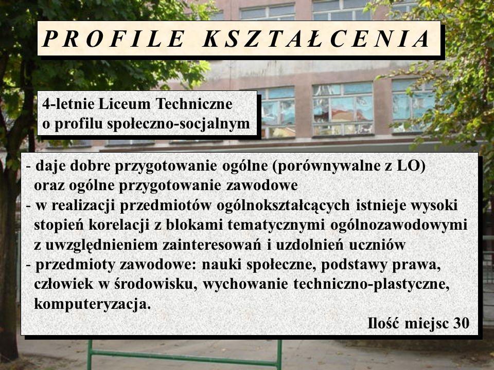 P R O F I L E K S Z T A Ł C E N I A 4-letnie Liceum Techniczne o profilu społeczno-socjalnym 4-letnie Liceum Techniczne o profilu społeczno-socjalnym