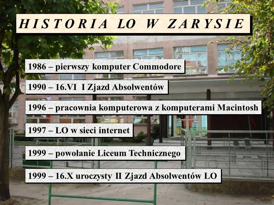 H I S T O R I A LO W Z A R Y S I E 1986 – pierwszy komputer Commodore 1990 – 16.VI I Zjazd Absolwentów 1996 – pracownia komputerowa z komputerami Maci