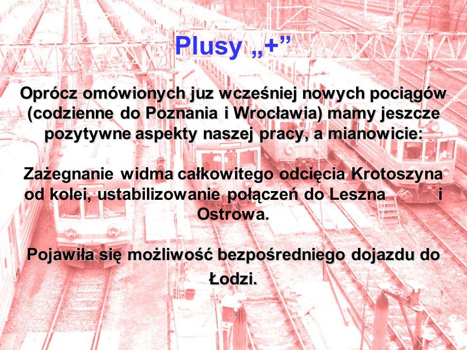 Oprócz omówionych juz wcześniej nowych pociągów (codzienne do Poznania i Wrocławia) mamy jeszcze pozytywne aspekty naszej pracy, a mianowicie: Pojawiła się możliwość bezpośredniego dojazdu do Łodzi.