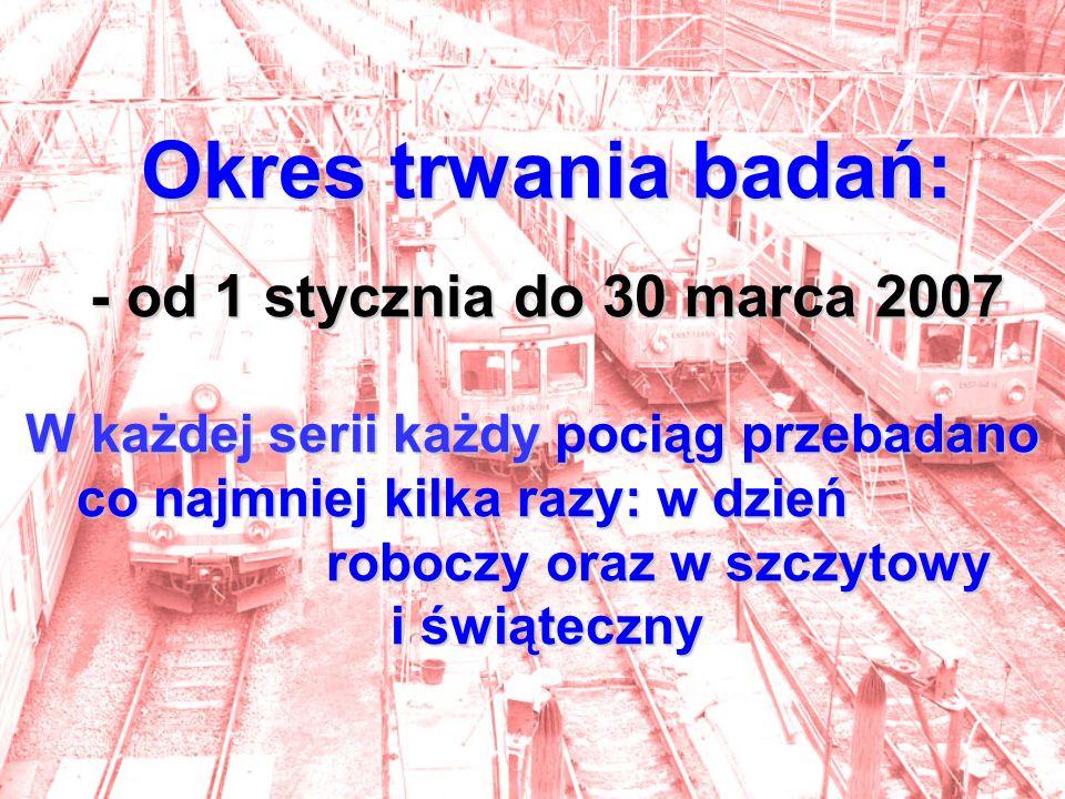 Okres trwania badań: - od 1 stycznia do 30 marca 2007 W każdej serii każdy pociąg przebadano co najmniej kilka razy: w dzień roboczy oraz w szczytowy i świąteczny