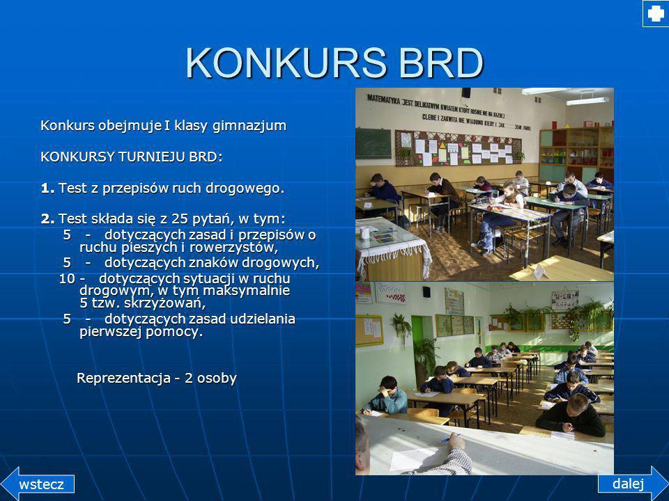 KONKURS BRD Konkurs obejmuje I klasy gimnazjum KONKURSY TURNIEJU BRD: 1.