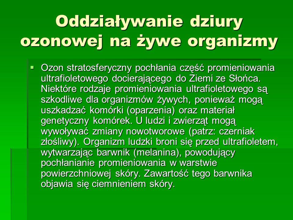Dziura Ozonowa Dziurą ozonową nazywa się zjawisko zmniejszania się stężenia ozonu w stratosferze atmosfery ziemskiej. Dziurą ozonową nazywa się zjawis
