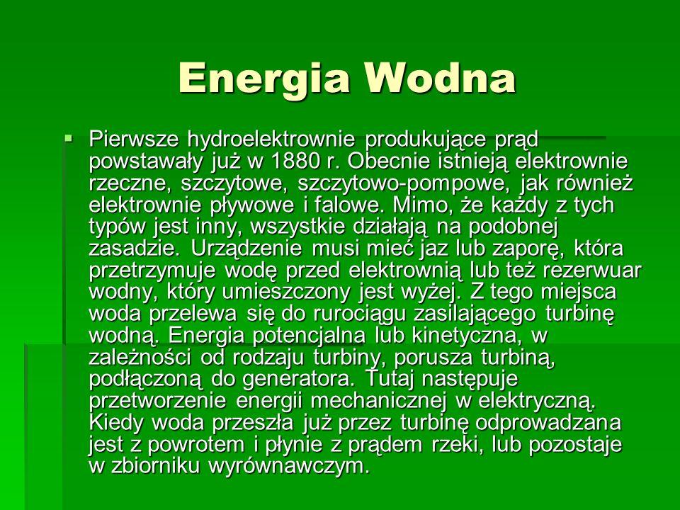 Alternatywne źródła energii Energia Wodna Energia Wodna Energia Wiatru Energia Wiatru Technologia Słoneczna Technologia Słoneczna