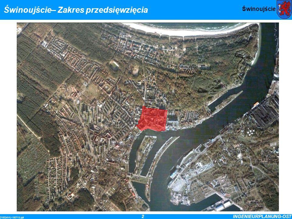 3INGENIEURPLANUNG-OST 210024/VU-100715.ppt Świnoujście Cele planowanej przebudowy odciążenie centrum miasta poprzez zmniejszenie natężenia ruchu kołowego zmniejszenie natężenia hałasu i spalin dla poprawy warunków zamieszkania i pracy, szczególnie poprzez przeniesienie ruchu tranzytowego uzyskanie dużego miejskiego placu jako miejsca spotkań i odpoczynku poprzez jego odpowiednie ukształtowanie rozwój dotychczasowej strefy ruchu pieszego z podwyższeniem jej atrakcyjności dla pieszych, rowerzystów, osób niepełnosprawnych i zakładów usługowych rozpropagowanie idei przebudowy centrum miasta