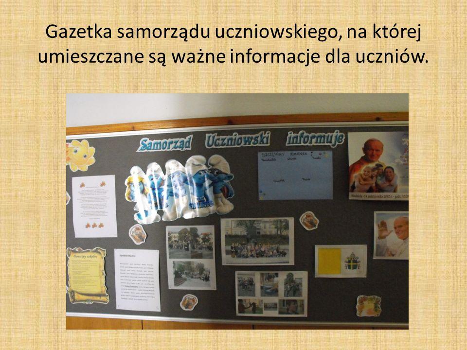 Gazetka samorządu uczniowskiego, na której umieszczane są ważne informacje dla uczniów.