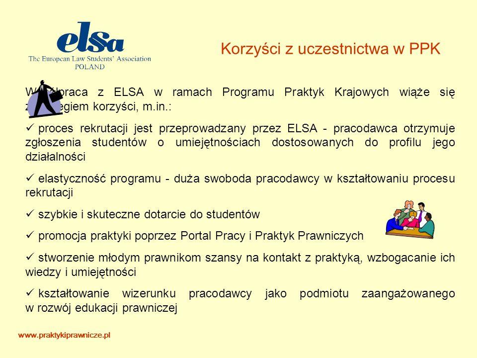 Korzyści z uczestnictwa w PPK Współpraca z ELSA w ramach Programu Praktyk Krajowych wiąże się z szeregiem korzyści, m.in.: proces rekrutacji jest przeprowadzany przez ELSA - pracodawca otrzymuje zgłoszenia studentów o umiejętnościach dostosowanych do profilu jego działalności elastyczność programu - duża swoboda pracodawcy w kształtowaniu procesu rekrutacji szybkie i skuteczne dotarcie do studentów promocja praktyki poprzez Portal Pracy i Praktyk Prawniczych stworzenie młodym prawnikom szansy na kontakt z praktyką, wzbogacanie ich wiedzy i umiejętności kształtowanie wizerunku pracodawcy jako podmiotu zaangażowanego w rozwój edukacji prawniczej www.praktykiprawnicze.pl