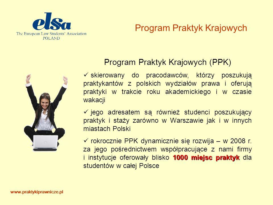 www.praktykiprawnicze.pl Program Praktyk Krajowych Program Praktyk Krajowych (PPK) skierowany do pracodawców, którzy poszukują praktykantów z polskich wydziałów prawa i oferują praktyki w trakcie roku akademickiego i w czasie wakacji jego adresatem są również studenci poszukujący praktyk i staży zarówno w Warszawie jak i w innych miastach Polski 1000 miejsc praktyk rokrocznie PPK dynamicznie się rozwija – w 2008 r.