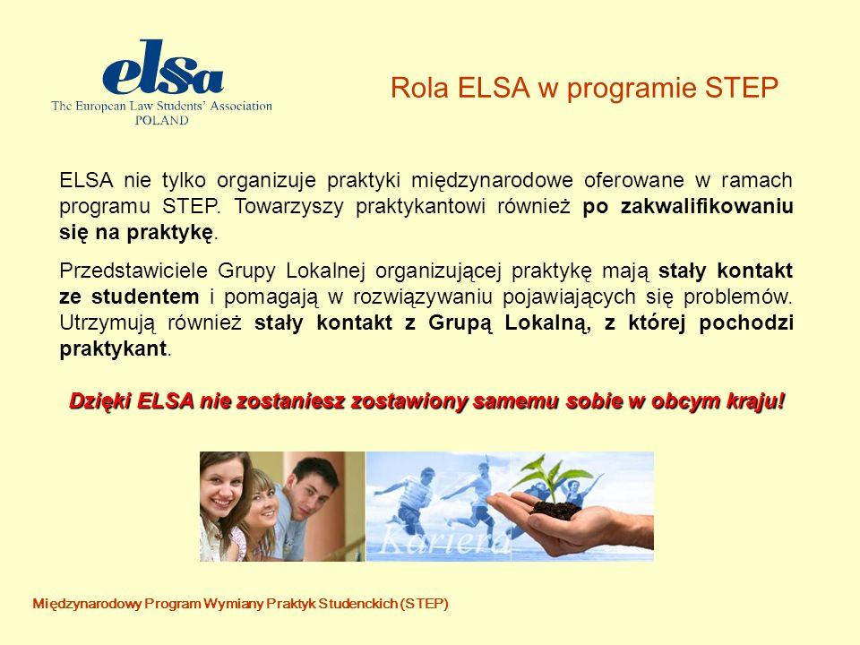Międzynarodowy Program Wymiany Praktyk Studenckich (STEP) Rola ELSA w programie STEP ELSA nie tylko organizuje praktyki międzynarodowe oferowane w ramach programu STEP.