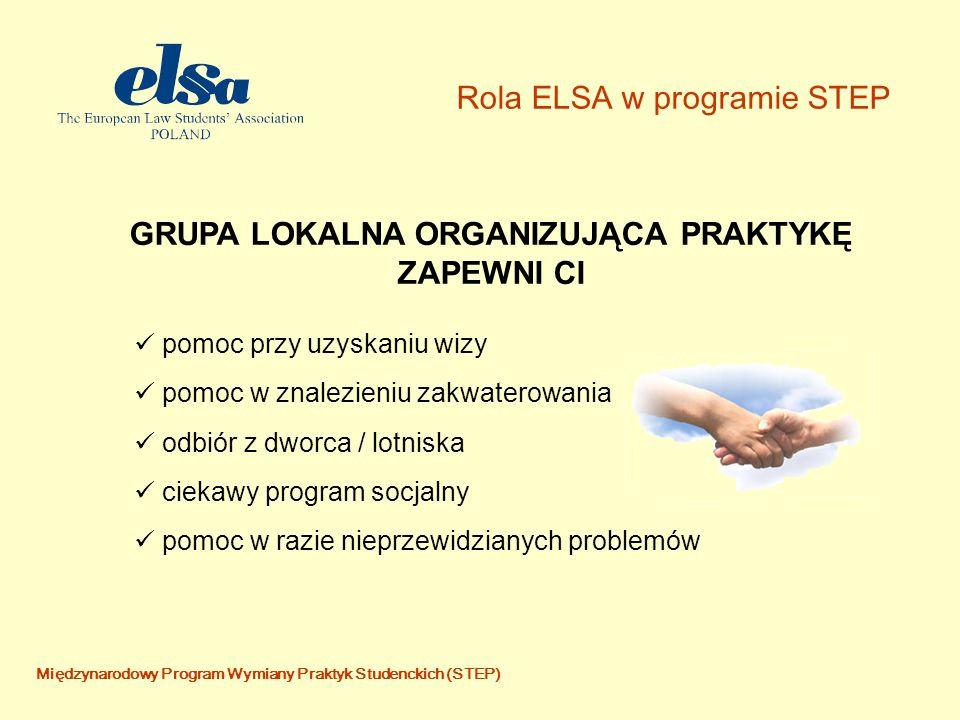 Międzynarodowy Program Wymiany Praktyk Studenckich (STEP) Rola ELSA w programie STEP pomoc przy uzyskaniu wizy pomoc w znalezieniu zakwaterowania odbiór z dworca / lotniska ciekawy program socjalny pomoc w razie nieprzewidzianych problemów GRUPA LOKALNA ORGANIZUJĄCA PRAKTYKĘ ZAPEWNI CI