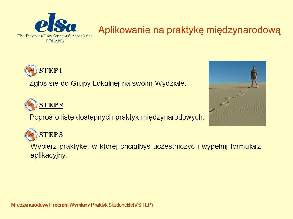 Międzynarodowy Program Wymiany Praktyk Studenckich (STEP) Aplikowanie na praktykę międzynarodową STEP 1STEP 2 Zgłoś się do Grupy Lokalnej na swoim Wydziale.